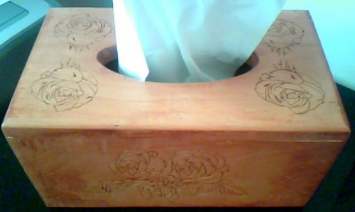 "Chipcarved Kleenex box cover.10 3/4""x6 3/8""5 5/8"" high