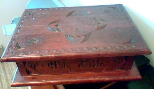 chipcarved Pennsylvana Dutch style Bible box.