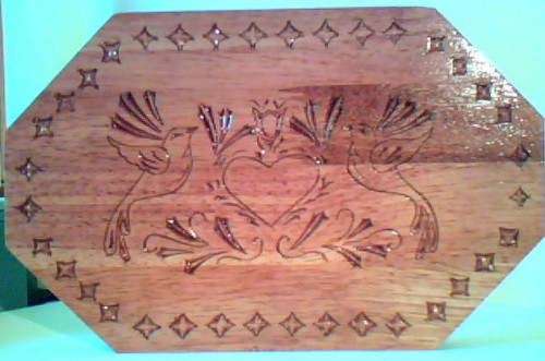 hard wood finished with butcher block finish.